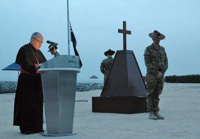 ANZAC Day - Task Force Spartan Senior Leaders Pay Tribute to Allies' Fallen Soldiers