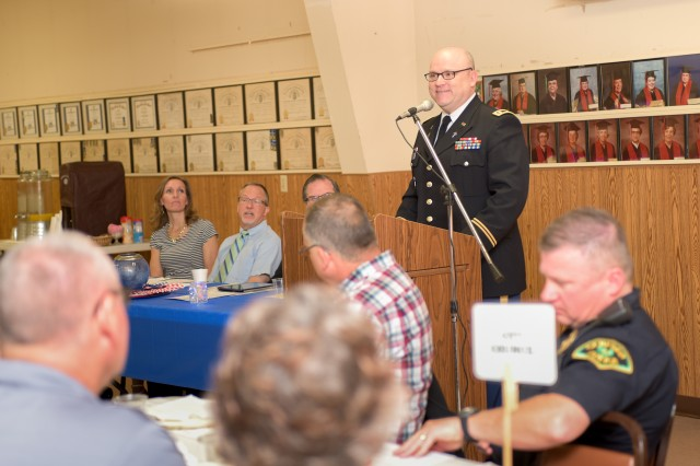 Chap. (Lt. Col.) Brian Curry, First Army Deputy Command Chaplain, addresses attendees of the Mayor's Prayer Breakfast held at the Geneseo Moose Lodge in Geneseo, Ill., May 4, 2017. Curry was the keynote speaker at the annual event, held in recognition of the National Day of Prayer, which has been observed the first Thursday of May for 66 years.