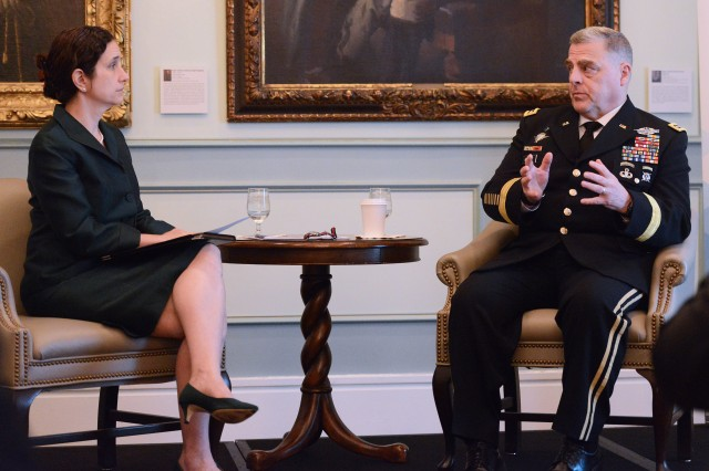 "Dr. Nora Bensahel, of the Atlantic Council, met with Chief of Staff of the Army Gen. Mark A. Milley, May 4, 2017 at the Army and Navy Club in Washington, D.C., as part of the council's ""Commanders Series."""