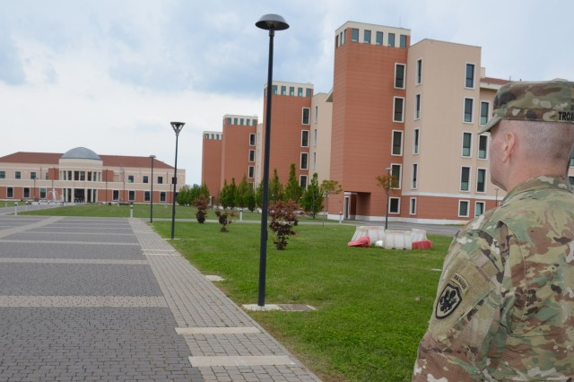 Senior Enlisted Advisor to the Chairman of the Joint Chiefs of Staff Command Sgt. Maj. John Wayne Troxell looks out over the Del Din military base in Vicenza, Italy, during his visit to Vicenza May 1.