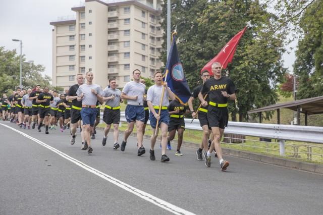 Maj. Gen. James F. Pasquarette, commanding general of U.S. Army Japan, leads soldiers during the Sexual Harassment/Assault Response and Prevention Run April 21, 2017. Prior to the run, Pasquarette encouraged soldiers to hold both themselves and fellow soldiers accountable for the prevention of sexual assault. (U.S. Army photo by Honey Nixon)