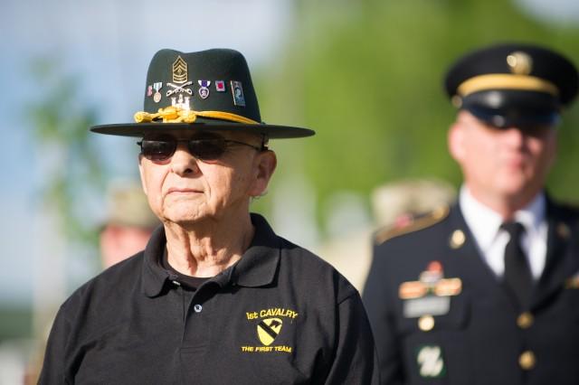 An Army veteran attends the Fallen Sapper Memorial during Regimental Week activities.
