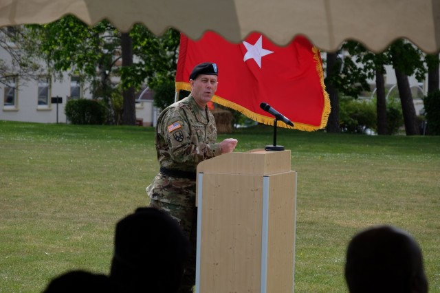 KAISERSLAUTERN, Germany - Army Reserve Brig. Gen. Steven W. Ainsworth, commanding general, 7th Mission Support Command gives remarks during the 7th MSC's Medical Support Unit-Europe change of command ceremony on Daenner Kaserne, May 6, 2017. Army Reserve Col. Daniel F. Bohmer, commander, Medical Support Unit - Europe, 7th MSC assumed command from Army Reserve Col. Bidemi Y. Olaniyi-Leyimu, MSU-E, 7th MSC. The MSU-E is an Army Reserve unit under the command of the 7th MSC, which has Soldiers with 29 medical specialties plus administrative professionals.
