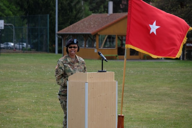 KAISERSLAUTERN, Germany - Army Reserve Col. Bidemi Y. Olaniyi-Leyimu, former commander, Medical Support Unit - Europe, 7th Mission Support Command gives remarks during the change of command ceremony for Army Reserve Col. Daniel F. Bohmer, commander, MSU-E, 7th MSC, on Daenner Kaserne, May 6, 2017. The MSU-E is an Army Reserve unit under the command of the 7th MSC, which has Soldiers with 29 medical specialties plus administrative professionals.