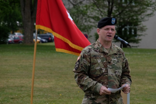 KAISERSLAUTERN, Germany - Army Reserve Col. Daniel F. Bohmer, commander, Medical Support Unit - Europe, 7th Mission Support Command gives remarks after he assumed command from Army Reserve Col. Bidemi Y. Olaniyi-Leyimu, MSU-E, 7th MSC, during an outdoor ceremony on Daenner Kaserne, May 6, 2017. The MSU-E is an Army Reserve unit under the command of the 7th MSC, which has Soldiers with 29 medical specialties plus administrative professionals.