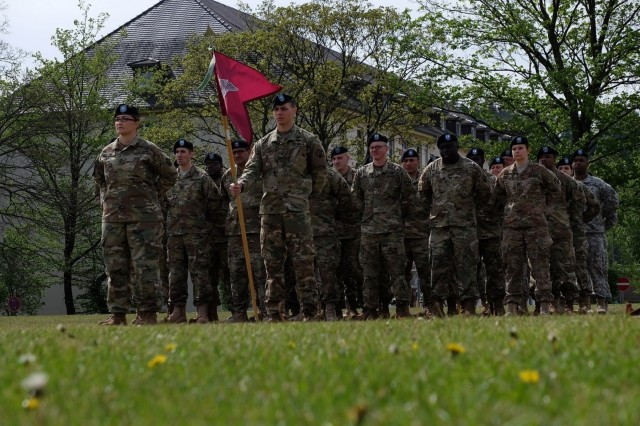 KAISERSLAUTERN, Germany - Army Reserve Col. Daniel F. Bohmer, commander, Medical Support Unit - Europe, 7th Mission Support Command assumes command from Army Reserve Col. Bidemi Y. Olaniyi-Leyimu, MSU-E, 7th MSC, during an outdoor ceremony on Daenner Kaserne, May 6, 2017. The MSU-E is an Army Reserve unit under the command of the 7th MSC, which has Soldiers with 29 medical specialties plus administrative professionals.