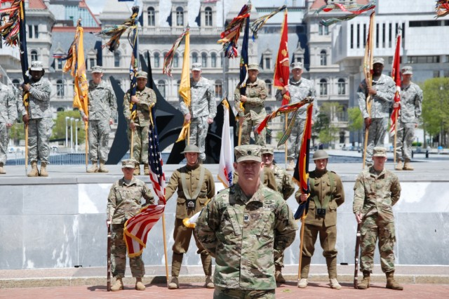 U.S. Army Lt. Col. Michael Murphy, Chief of Staff of the New York Army National Guard's 42nd Infantry Division, leads division Soldiers and staff during the division change of command ceremony at the Empire State Plaza in Albany on May 6, 2017. Brig. Gen. Steven Ferrari assumed command of the division headquarters from Maj. Gen. Harry Miller in front of the colors and Soldiers of the 42nd Division's associated brigades. ( U.S. Army National Guard photo by Col. Richard Goldenberg)