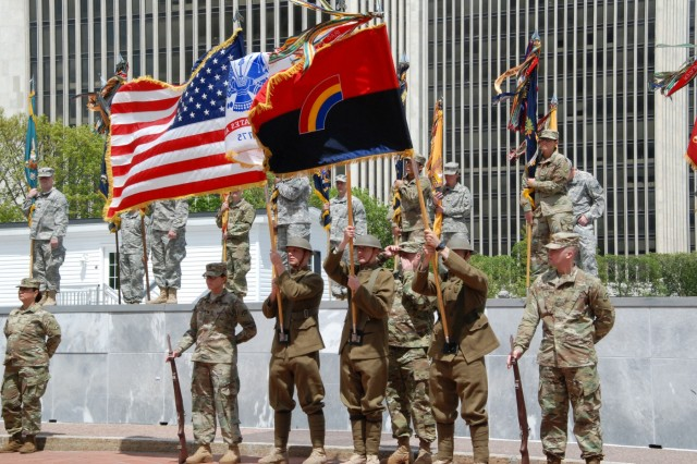 U.S. Army Soldiers of the New York Army National Guard's 42nd Infantry Division World War One Color Guard support the division change of command ceremony at the Empire State Plaza in Albany on May 6, 2017. Brig. Gen. Steven Ferrari assumed command of the division headquarters from Maj. Gen. Harry Miller in front of the colors and Soldiers of the 42nd Division's associated brigades. U.S. Army National Guard photo by Col. Richard Goldenberg.