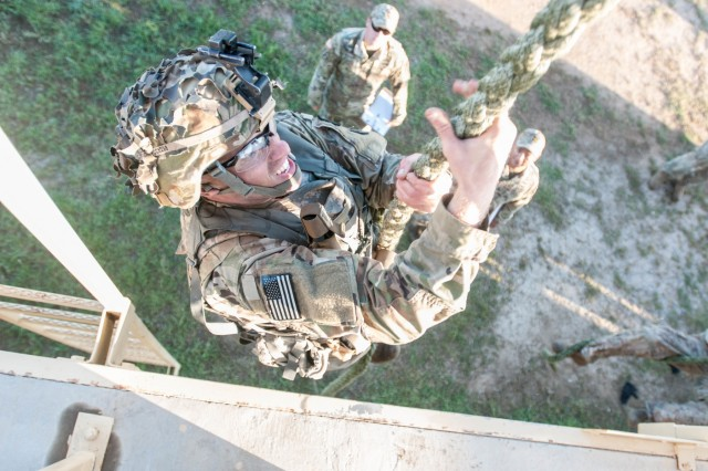 Army National Guard Soldiers participate in the Stress-Shoot portion of the 2017 Gainey Cup held at Fort Benning, Ga.