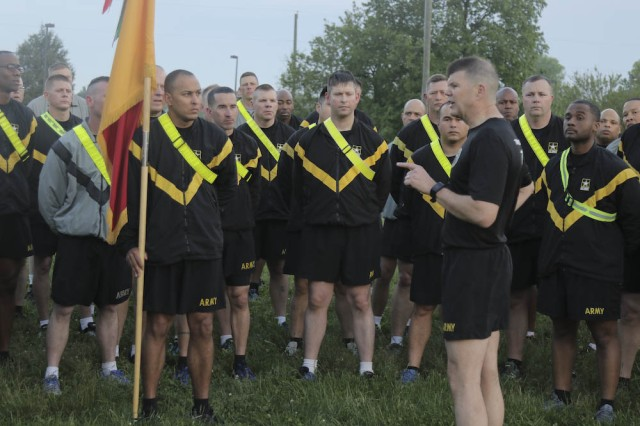 4th Cavalry Brigade held a team-building physical readiness training session at Natcher Fitness Center, April 28, 2017, at Fort Knox. After PRT, Division East, First Army Commanding General, Maj. Gen. Todd McCaffrey spoke to the brigade.