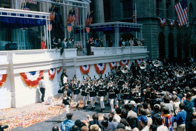 US Military Academy at West Point Band in New York City celebrating the Bicentennial of George Washington's Inauguration, circa 1989.