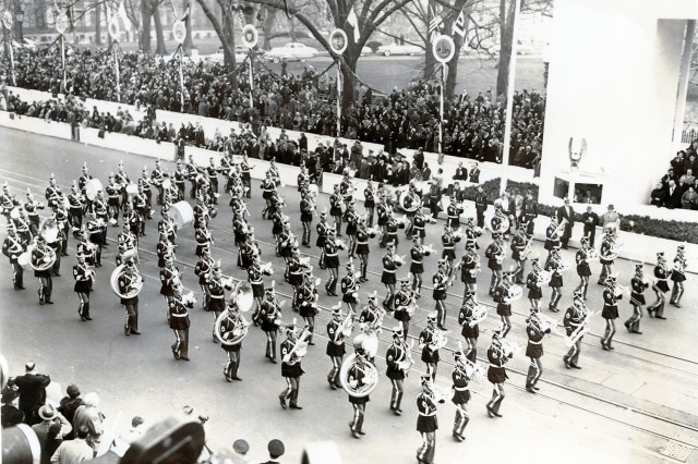 US Military Academy at West Point Band plays at Dwight D. Eisenhower's (USMA class of 1915) Inauguration, circa 1953.