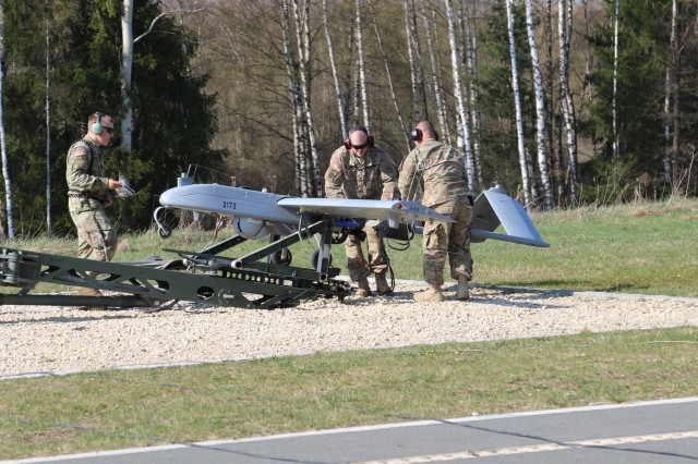 Soldiers of Company D, 588th Brigade Engineer Battalion, 3rd Armored Brigade Combat Team, 4th Infantry Division, launch an RQ-7B Shadow unmanned aerial system during combined-arms live fire exercises conducted by the brigade's combined-arms battalions at Rose Barracks, Vilseck, Germany, April 9, 2017. The brigade UAS platoon is integrating with maneuver and field artillery units to provide route reconnaissance, target acquisition and over-watch for ground troops on the battlefield.