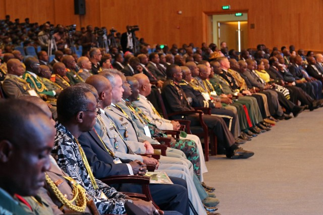 Senior military leaders from the U.S., United Kingdom, France, Brazil and 40 countries from across the African continent attend the African Land Forces Summit 2017 opening ceremony, in Lilongwe, Malawi, May 8, 2017. ALFS is an annual, weeklong seminar bringing together land force chiefs from across Africa for candid dialog to discuss and develop cooperative solutions to regional and transregional challenges and threats. (U.S. Army photo by Sgt. Paige Behringer)