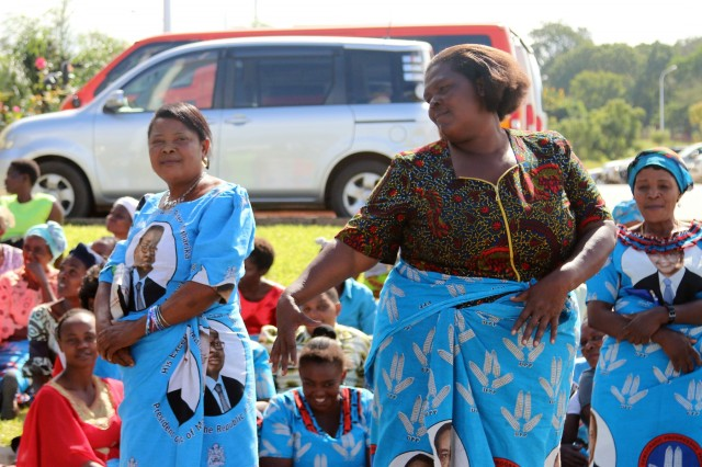 Local women dance while waiting for Saulos Klaus Chilima, vice president of Malawi to arrive at the African Land Forces Summit 2017 opening ceremony, in Lilongwe, Malawi, May 8, 2017. ALFS is an annual, weeklong seminar bringing together land force chiefs from across Africa for candid dialog to discuss and develop cooperative solutions to regional and transregional challenges and threats. (U.S. Army photo by Sgt. Paige Behringer)