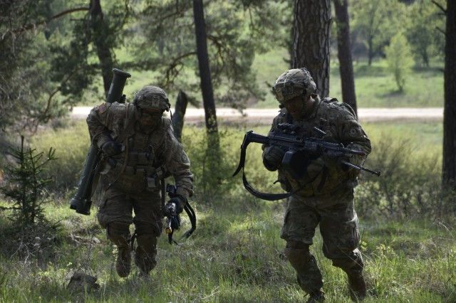 Troopers assigned to Iron Troop, 3rd Squadron, 2nd Cavalry Regiment, conduct land operations during Saber Junction 17 at the Hohenfels Training Area, Germany, May 6, 2017. Saber Junction is the U.S. Army Europe's combat training center certification exercise for the 2nd Cavalry Regiment, taking place at the Joint Multinational Readiness Center in Hohenfels, Germany, April 25-May 19, 2017.