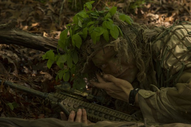 Scout Snipers with 2nd Battalion, 2nd Marine Regiment conducted a stalk training exercise at Fort A.P. Hill, Virginia, April 26, in order to improve their stealth skills and to prepare themselves for Scout Sniper School.