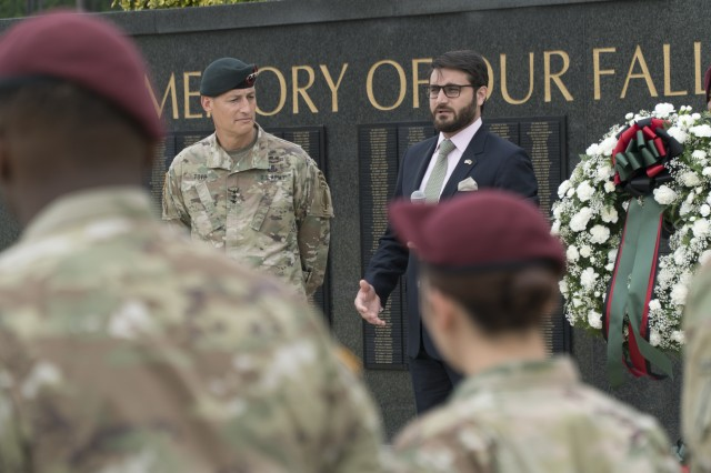 FORT BRAGG, N.C. --Dr. Hamdullah Mohib, Ambassador of the Islamic Republic of Afghanistan, addresses soldiers who have served in or are deploying to Afghanistan at the U.S. Army Special Operations Command Memorial Wall, Thursday, May 11. (U.S. Army photo, by Army Staff Sgt. Jacob Braman, U.S. Army John F. Kennedy Special Warfare Center and School Public Affairs Office)