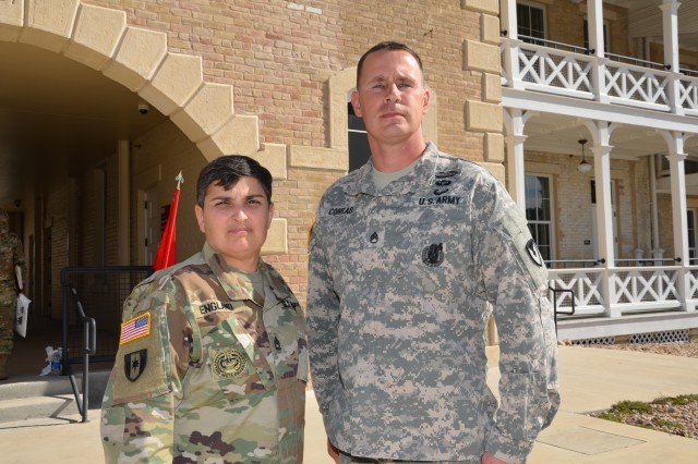 Sgt. 1st Class Christie England, left, was named the Army Contracting Command's Outstanding Contingency Contracting NCO for fiscal 2016. England was recognized for her support while deployed to the Regional Contracting Center in Kuwait. She is assigned to the 614th Contracting Team at Fort Bragg, North Carolina. She is pictured with Staff Sgt. Joseph Conrad during the MICC NCO of the Quarter for the first quarter of fiscal 2017 competition December 2016 at Fort Sam Houston, Texas. Conrad is a contracting NCO assigned to the 900th Contracting Battalion's 614th CT at Fort Bragg.