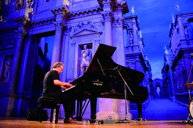 Uri Caine performs at the Teatro Olimpico, Olympic Theater, during Jazz Festival 2014 in Vicenza. The city has cultivated its jazz tradition over a period of more than 20 years and is now home to premier annual concerts.