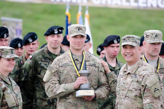 1st Lt. Brian Carroll holds the third place trophy for the Strong Europe Tank Challenge with rom Brig. Gen. Tony Aguto, Commanding General, 7th Army Training Command at Grafenwoehr Training Area, May 12, 2017. The Strong Europe Tank Challenge was co-hosted by U.S. Army Europe and the German Army, May 7-12, 2017. The Competition was designed to test capabilities, project a dynamic presence, foster military partnership, promote interoperability, and provide an environment for sharing tactics, techniques and procedures.