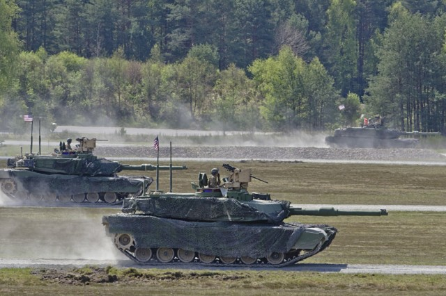 A tank platoon assigned to 1st Battalion, 66th Armor Regiment, 3rd Armored Brigade Combat Team, 4th Infantry Division, completed live-fire offensive operations lane for the Strong Europe Tank Challenge at Grafenwoehr Training Area, May 10, 2017, as part of Strong Europe Tank Challenge. The Strong Europe Tank Challenge is designed to test the capabilities, project a dynamic presence, foster military partnership, promote interoperability, and provides an environment for sharing tactics, techniques and procedures