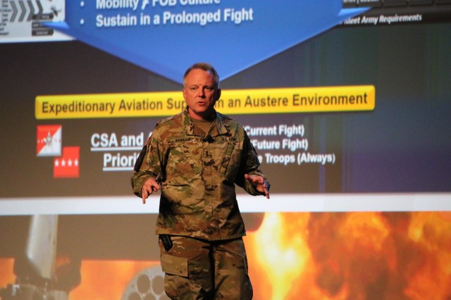 Maj. Gen. Doug Gabram, AMCOM Commander, presents the command's position on Sustaining the Fleet Friday at the Army Aviation Association of America Summit in Nashville, Tenn. Gabram stressed the importance of designing and delivering materiel readiness, and the importance of being able to maintain sustainment during potentially lengthy engagements.