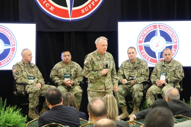 Maj. Gen. Doug Gabram, AMCOM Commander, leads an Army Aviation Association of America Senior Leader discussion panel Thursday in Nashville. From left: Col. Dave Almquist, G 5, Col. Al Lanceta, Corpus Christi Army Depot, Col. Andy Gignilliat, AMCOM Logistics Center and Col. Mike Best, Aviation Center Logistics Center. The Commander and panel members addressed actions in their assigned areas, and answered audience questions.
