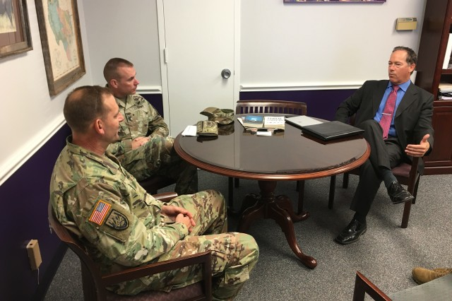 Col. (P) John C. Ulrich (left), U.S. Army Operational Test Command commander, and OTC Command Sgt. Maj. Jason Schmidt, meet with Florence Independent School District Superintendent Paul Michalewicz, to discuss their ongoing connection under III Corps and For Hood's Adopt-a-School program.