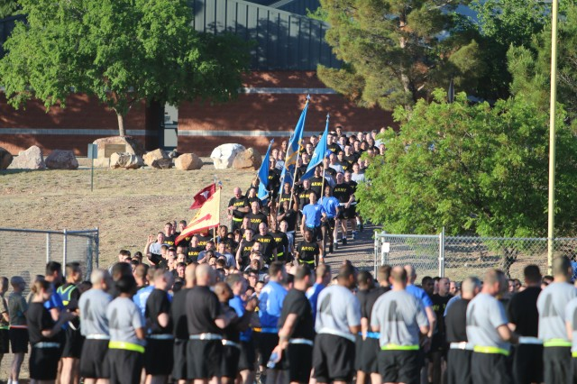 Participants in the installation NCO run return to Warrior/Sentinel Fields April 24 as part of the NCO Week activities at Fort Huachuca.  (Photo Credit: Fort Huachuca Public Affairs Lara Poirrier)