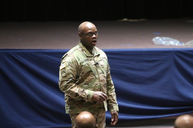 Command Sgt. Maj. Darris Curry, Network Enterprise Technology Command, hosts a NCO professional development session April 24 at Greely Hall Auditorium as part of NCO Week activities at Fort Huachuca.  (Photo Credit: Fort Huachuca Public Affairs Lara Poirrier)