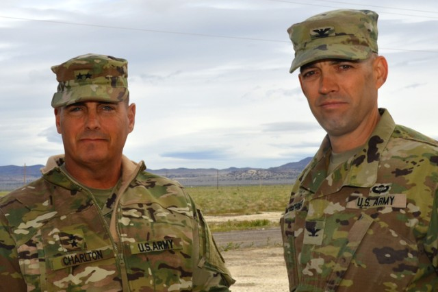 Maj. Gen. John W. Charlton, U.S. Army Test and Evaluation Commander with Dugway's Commander Sean Kirschner during April 26 visit to the test center's facilities and outdoor test grids. Photo by Bonnie A. Robinson, Dugway Public Affairs