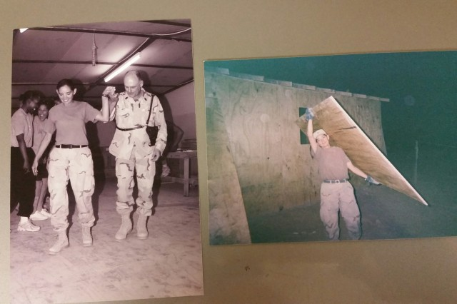 (Left photo): Sgt. 1st Class Debra Kay Mooney and other Soldiers practice dance steps prior to the actual pow-wow in 2004 in Fallujah, Iraq. (Right photo): Mooney carries plywood for a construction project at the airport in Iraq in 2004.