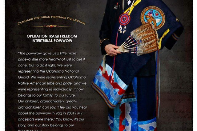 "Sgt. 1st Class Debra Kay Mooney poses for a National Guard poster. Of the poster, Mooney commented: ""Although it says Pawnee on the poster, I am Choctaw by blood and my dress is Pawnee. My mother passed away when I was young. Thereafter, a Pawnee lady named Joy White helped guide me and finish raising me.  Her brother Marshall Gover, a Vietnam vet, is the person I call when I have really bad days."