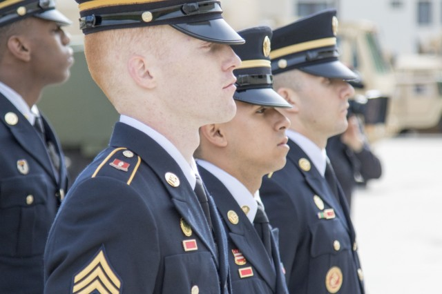 """Four New York Army National Guard Soldiers, along with eight other Army National Guard Soldiers from across the country, rehearse the movements and commands of a full military funeral during the 80-hour, Train-the-trainer Military Funeral Honors course at Camp Smith Training Site May 11, 2017. Twelve Army National Guard Soldiers were selected to attend the two-week training from May 8-19, 2017, which is designed to """"train the trainer"""" so current Honor Guard members can return as state level training instructors. The training prepares each Soldier to execute the six different positions in a military funeral detail."""
