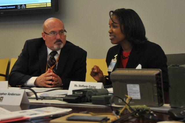 Gary Martin, program executive officer for Command, Control and Communications-Tactical, talks with Steffanie B. Easter, the senior official performing the duties of the Assistant Secretary of the Army for Acquisition, Logistics and Technology, during her visit to Aberdeen Proving Ground, Maryland, May 11, 2017.