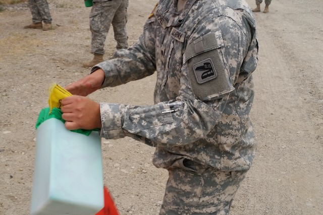 National Guard Spc. Sergio Sanchez at fire training at the 2016 wildfires.