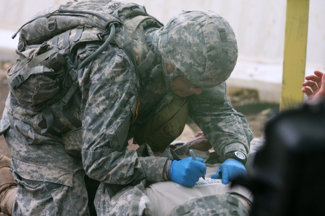 National Guard Spc. Sergio Sanchez in a mass casualty exercise.