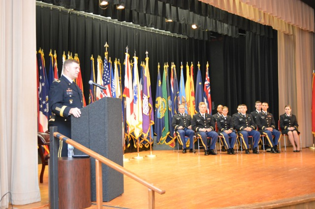 Maj. Gen. William K. Gayler, U.S. Army Aviation Center of Excellence and Fort Rucker commanding general, speaks to Reserve Officer Training Corps cadets, their family and friends, and university faculty members during a commissioning ceremony at the University of North Alabama May 12. Photo by Kelly Morris.