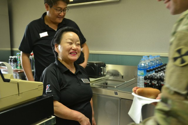 For more than 50 years, Ms. Kim, Man-so has served Soldiers in Korea. She works out of a tiny snack bar located in the Combined Forces Command building at U.S. Army Garrison Yongsan. (Courtesy photo ofAAFES Public Affairs).