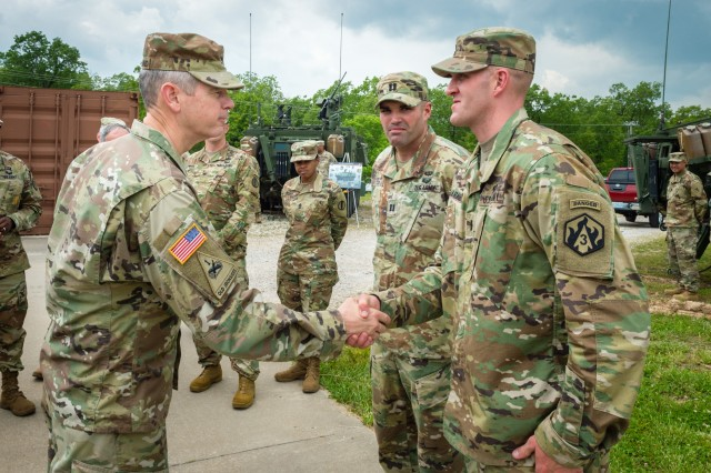 During their tour of the 1LT Joseph Terry Chemical Biological, Radiological and Nuclear Training Facility,  Lt. Gen. Sean MacFarland, TRADOC deputy commanding general and chief of staff met the 3rd Chemical Brigade and Fort Leonard Wood Best Ranger team.