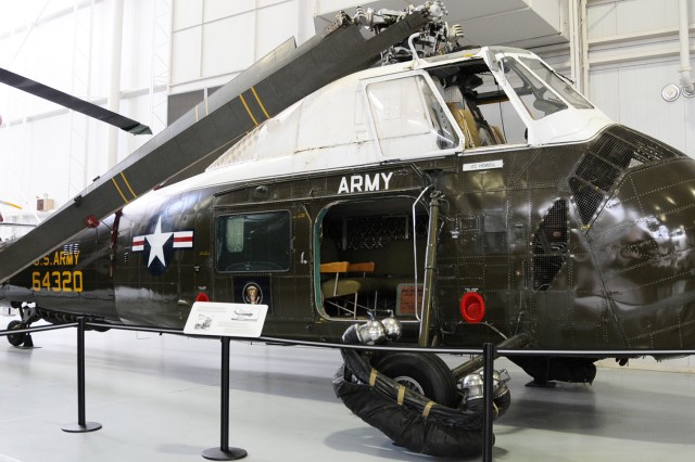 The VCH-34 presidential helicopter, designated 'Army One' was modified from a H-34 Choctaw helicopter to include floatation devices in case the aircraft had to be put down over water. Army One currently sits in the U.S. Army Aviation Museum.