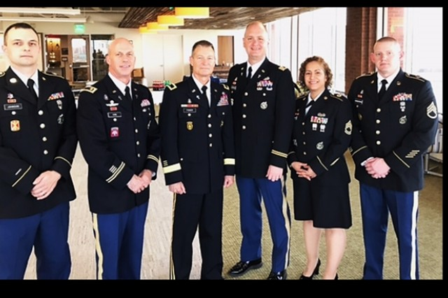 The Northeast Chaplain Recruiting Team along with CH Fisher:  (left to right) SGT Johnson, CH King, CH Fisher, CH Groenendal, SFC Fletcher, SSG Niewiadomski.