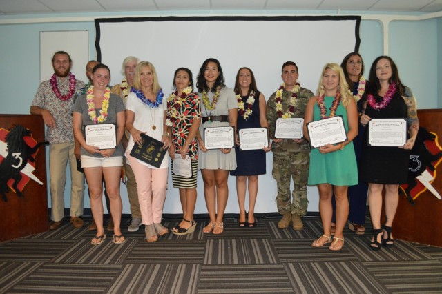 "Soldiers, military spouses and members from local community charity, Surfing the Nations, were recognized for their community volunteer efforts during the 3rd Brigade Combat Team, ""Broncos,"" 25th Infantry Division, Volunteer Recognition Ceremony (VRC) at Schofield Barracks, Hawaii, on May 9, 2017. The VRC is a ceremony held quarterly recognition those who volunteer their efforts to the Army and local community. (U.S. Army photo by Staff Sgt. Armando R. Limon, 3rd Brigade Combat Team, 25th Infantry Division)"