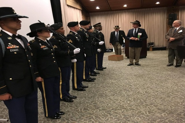 2d Cavalry Regiment Association President Bryan Denny recognizes the participation of 1st Squadron 2nd Cavalry Regiment's Sgt. Sara Morris and Spc. Orlando Colon-Nunez as well as a color guard from the VA area at the 2d Cavalry Regiment's reunion in Williamsburg, Virginia, April 27-30, 2017.