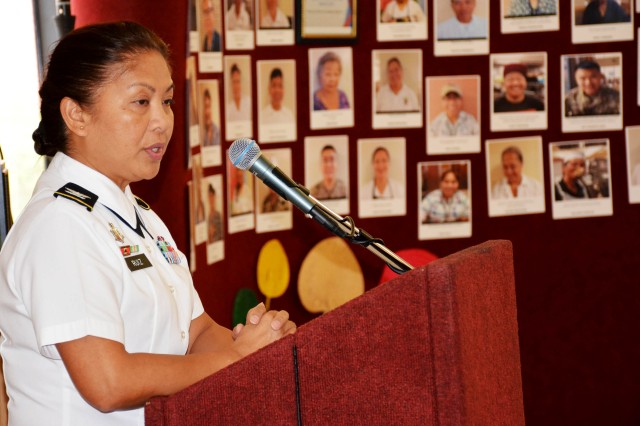 Col. Editha Dulce Ruiz, Director of Tripler's Maternal Child Nursing section, shares her story of immigration from the Philippines to the U.S. during the Asian American Pacific Islander Heritage month observance on Friday, May 19th at Tripler Army Medical Center.