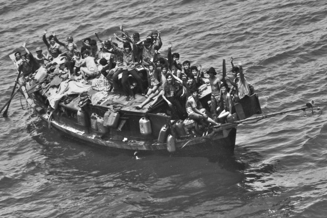 A total of 158 Vietnamese people, including Lt. Col Lan Dalat's family, who escaped from Vietnam sail in the South China Sea. (Photo courtesy of Lt. Col. Lan Dalat)