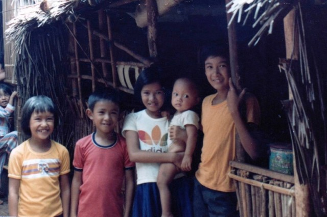 A young Lt. Col. Lan Dalat, far right, pictured with his siblings and neighbors at a Vietnamese Refugee Camp in Puerto, Princesa, Palawan, Philippines. (Photo courtesy of Lt. Col. Lan Dalat)