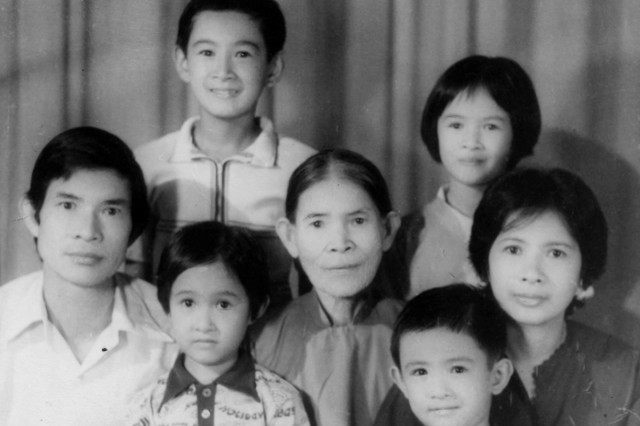 A family photo a young Lt. Col. Lan Dalat, top left, and his family members to include his mother, father, grandmother and younger siblings. (Photo courtesy of Lt. Col. Lan Dalat)