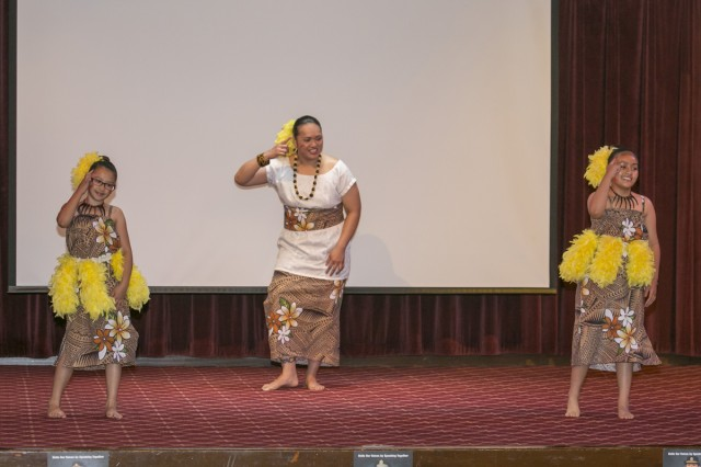 Samoan dancers entertain audience members at the Asian American Pacific Islander Heritage Month Observance May 18, 2017 at Camp Zama Community Club. (U.S. Army photo by Honey Nixon)